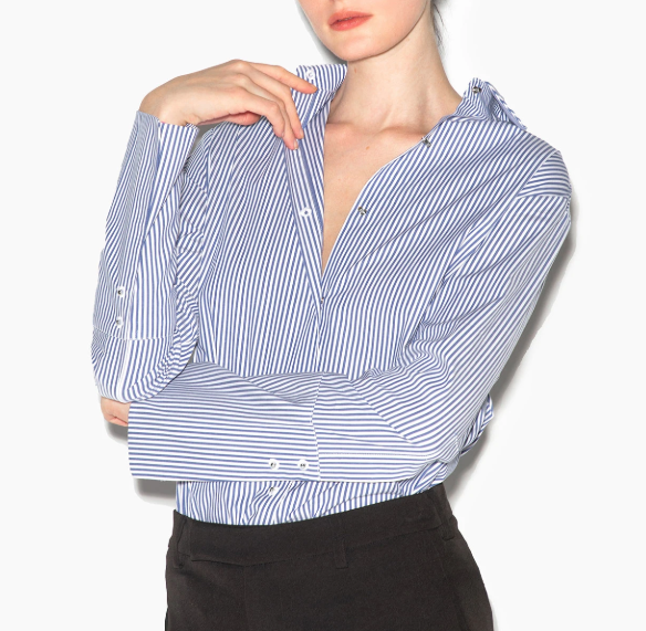 Misha Nonoo Husband Shirt in blue stripe