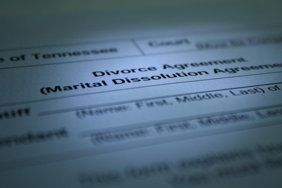 Divorce agreement on dark light