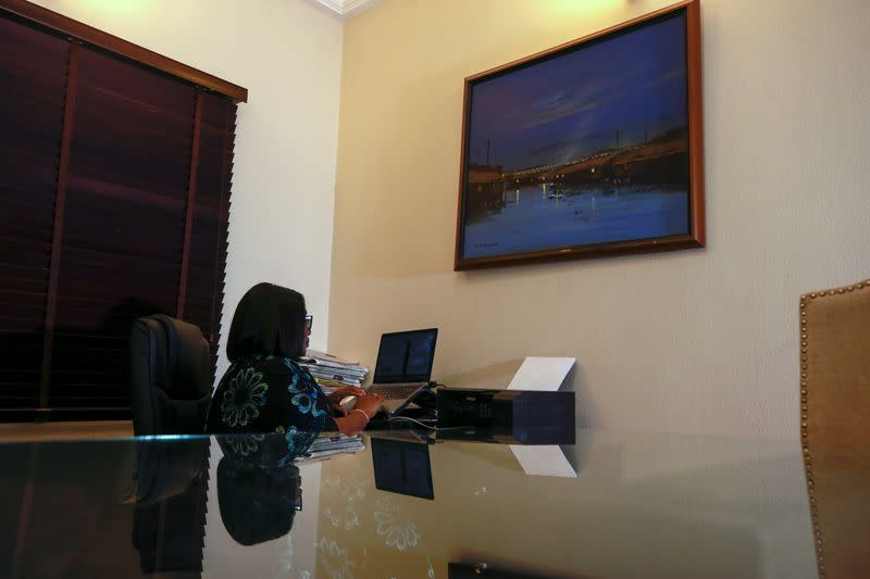 Adaora Ikenze, Facebook's Head of Public Policy is seen during an interview with Reuters in Abuja