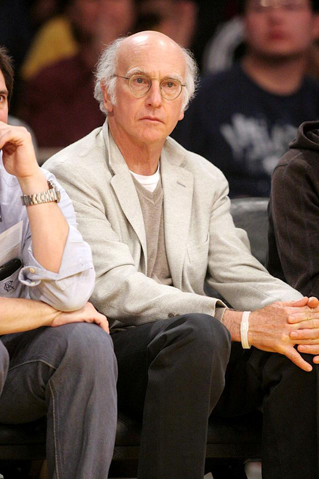 """Curb Your Enthusiasm's"" Larry David was another celebrity Lakers fan who was lucky enough to have a courtside seat for the face-off. London Ent/Splash News/<a href=""http://www.splashnewsonline.com/"" target=""new"">Splash News</a> - February 18, 2010"