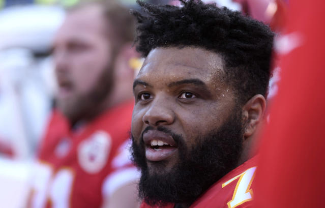 FILE - In this Dec. 9, 2018, file photo, Kansas City Chiefs offensive tackle Jeff Allen is shown during the first half of an NFL football game in Kansas City, Mo. Jeff Allen spent most of the offseason baking cookies with his wife, who began a business back home in Texas. As much fun as he had, though, he was happy to exchange his chefs hat for a football helmet again when the Chiefs called him recently. (AP Photo/Reed Hoffmann, File)