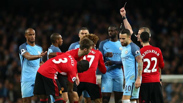 Manchester City were unable to break down a resilient Manchester United despite an 84th-minute red card for Marouane Fellaini.