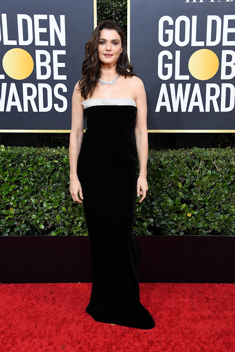 Rachel Weisz in a black and white gown on the Golden Globes 2020 red carpet.