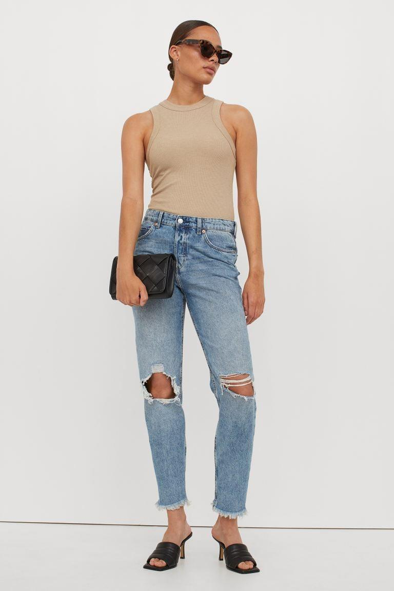 <p>If you're not into the low-rise jean look, we hear you. These <span>H&amp;M Boyfriend Low Regular Jeans</span> ($40) are a great happy medium. They're low, but have a slouchy, relaxed look that feels easy to style.</p>