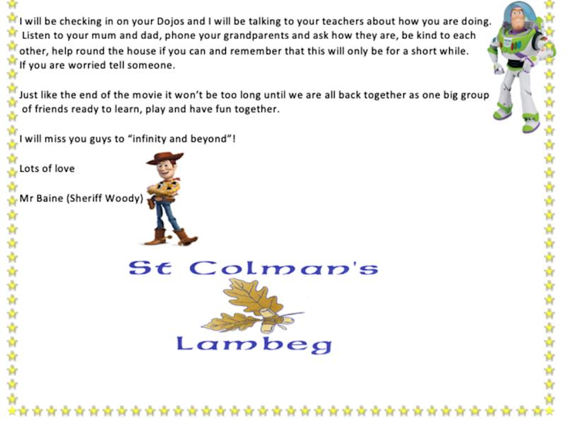 Stephen Baine's letter to students at St Colman's Primary School in Lambeg