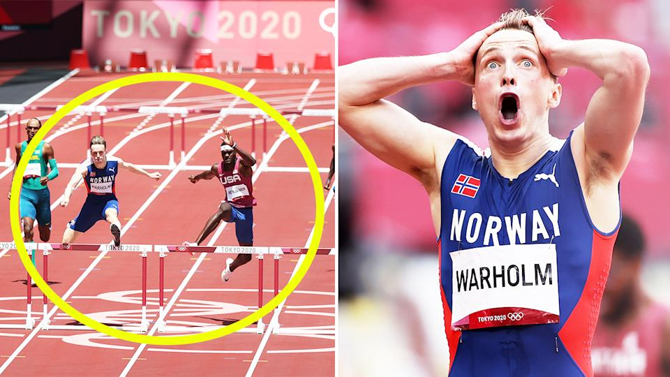 Karsten Warholm (pictured right) in shock after he broke his own 400m hurdles world record and (pictured left) running at the Tokyo Olympics.