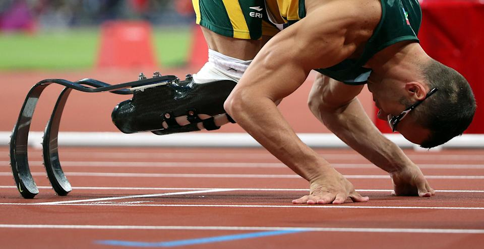 05 August 2012 - London, Britain - Oscar Pistorius of South Africa takes part in men's 400m semifinal contest, at London 2012 Olympic Games in London, Britain, on August 5, 2012. Oscar Pistorius of South Africa failed to make it to the finals. Photo Credit: Liao Yujie/Xinhua/Sipa USA