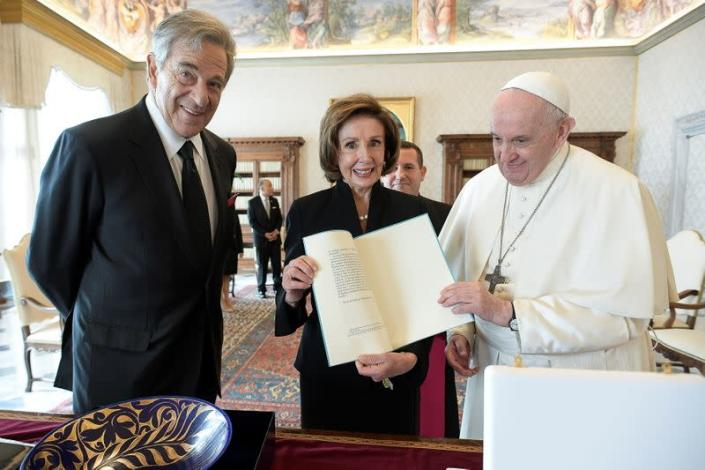 U.S. Speaker of the House Nancy Pelosi meets with Pope Francis at the Vatican