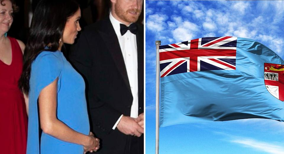 Meghan Markle matched the Fijan flag with her outfit. [Photo: Twitter/Getty]