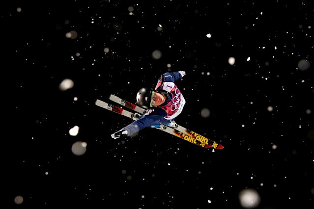 SOCHI, RUSSIA - FEBRUARY 14: Emily Cook of the United States practices ahead of the Freestyle Skiing Ladies' Aerials Finals on day seven of the Sochi 2014 Winter Olympics at Rosa Khutor Extreme Park on February 14, 2014 in Sochi, Russia. (Photo by Cameron Spencer/Getty Images)