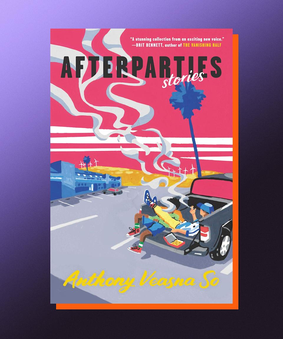 """<strong><em>Afterparties</em>, Anthony Veasna So (</strong><a href=""""https://bookshop.org/books/afterparties-stories/9780063049901"""" rel=""""nofollow noopener"""" target=""""_blank"""" data-ylk=""""slk:available August 3"""" class=""""link rapid-noclick-resp""""><strong>available August 3</strong></a><strong>)</strong><br><br>An electrifying, raucous debut collection of stories, Anthony Veasna So's <em>Afterparties</em> feels clandestine and tingly, like a secret told to you by your very best friend — the one who always has the best gossip, and knows how to make you laugh so hard you cry. Set in California's Central Valley, <em>Afterparties</em> is set in the region's Cambodian-American community, and is fearless and funny in its approach to the immigrant experience, the queer experience — the human experience. The characters grapple with trauma and identity, issues of family and sexuality; there's a generosity to So's writing, as if he knew how deeply readers would need his work, and connect with it. It's magic."""