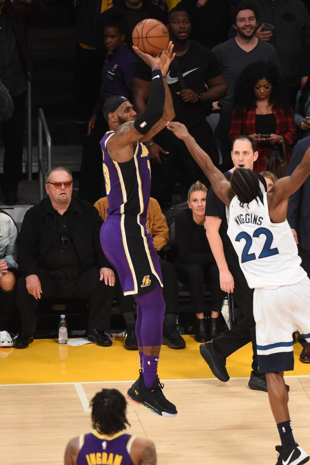 LOS ANGELES, CA - NOVEMBER 7: LeBron James #23 of the Los Angeles Lakers shoots a three-pointer against the Minnesota Timberwolves on November 7, 2018 at Staples Center in Los Angeles, California. (Photo by Adam Pantozzi/NBAE via Getty Images)