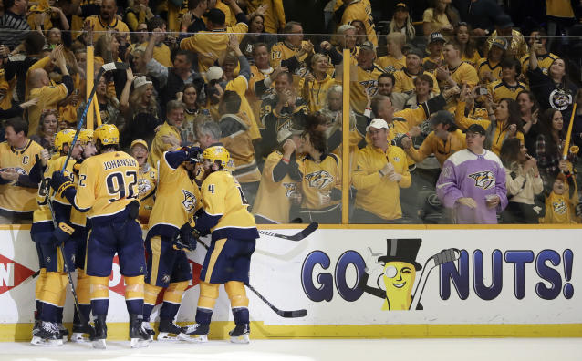 "Nashville fans back the <a class=""link rapid-noclick-resp"" href=""/nhl/teams/nas"" data-ylk=""slk:Predators"">Predators</a> on the ice; will they back them in the voting booth? (AP)"