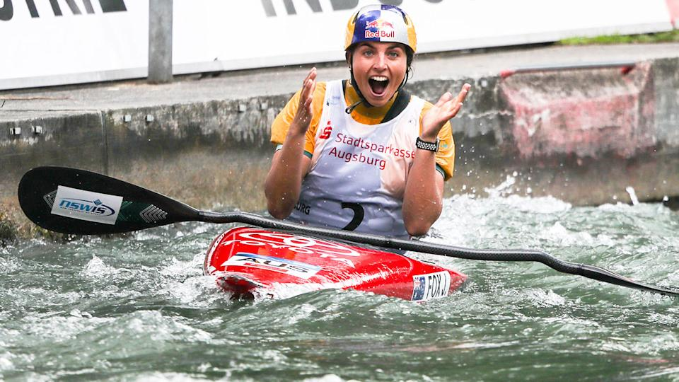 Jess Fox is seen here reacting with joy after a canoe slalom event.