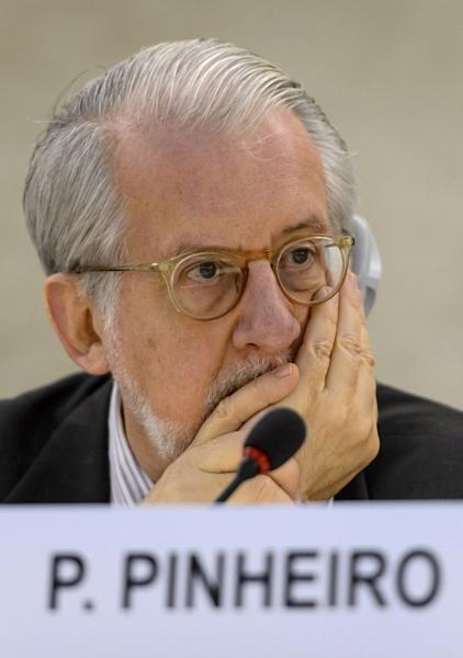 Paulo Sergio Pinheiro -- the head of the United Nations Independent Commission of Inquiry on Syria -- at the UN Human Rights Council in Geneva, on June 4, 2013
