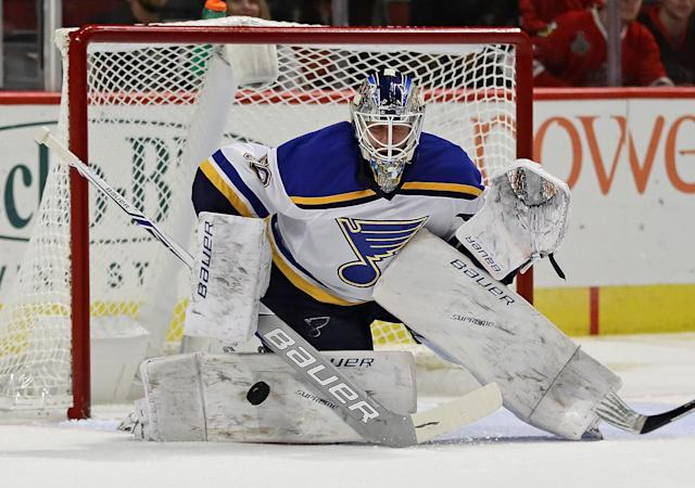 Jordan Binnington has been the driving force behind the Blues' playoff push. (Photo by Jonathan Daniel/Getty Images)