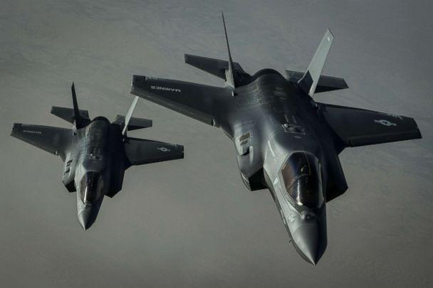 PHOTO: Two U.S. Marine Corps F-35B Lightning II's assigned to the Marine Fighter Attack Squadron 211, 13th Marine Expeditionary Unit, fly a combat mission over Afghanistan, Sept. 27, 2018. (Staff Sgt. Corey Hook/U.S. Air Force)