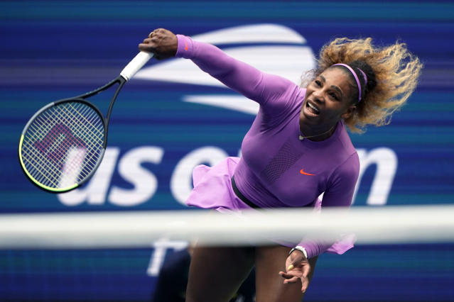 FILE - In this Sept. 7, 2019, file photo, Serena Williams returns a shot to Bianca Andreescu, of Canada, during the women's singles final of the U.S. Open tennis championships in New York. Serena Williams is planning to play in the 2020 U.S. Open. The 23-time Grand Slam singles champion said in a video shown during the U.S. Tennis Association's tournament presentation Wednesday, June 17, 2020, that she cannot wait to return to New York for the major championship she has won six times. (AP Photo/Eduardo Munoz Alvarez, File)