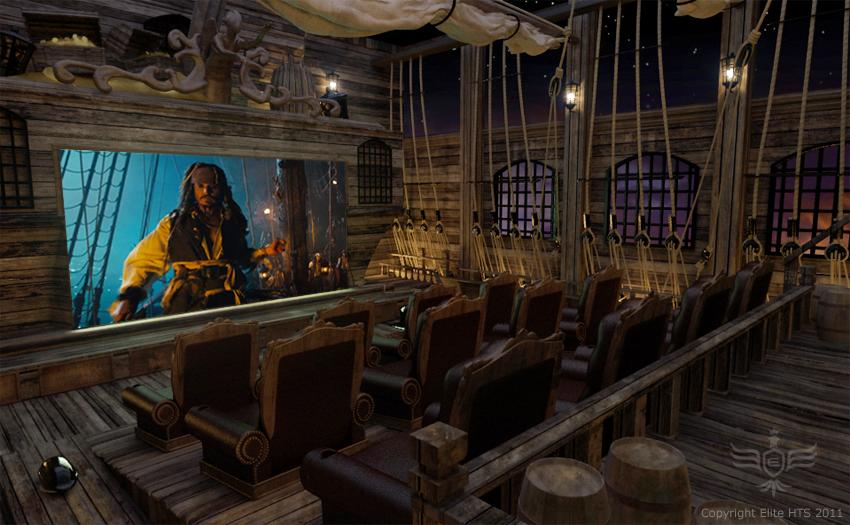 The lavish seating area sits atop the deck of a pirate ship!  (Photos courtesy Elite Home Theater Seating)