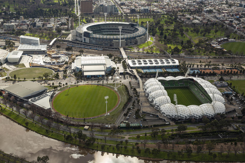 26: An aerial view over the Melbourne Park precinct on August 26, 2020 in Melbourne, Australia during its strict lockdown.