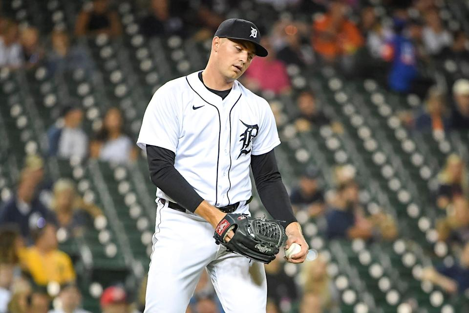 Tarik Skubal #29 of the Detroit Tigers reacts after giving up a two-run home run hit by Mark Canha #20 of the Oakland Athletics during the top of the fifth inning at Comerica Park on August 31, 2021 in Detroit, Michigan.