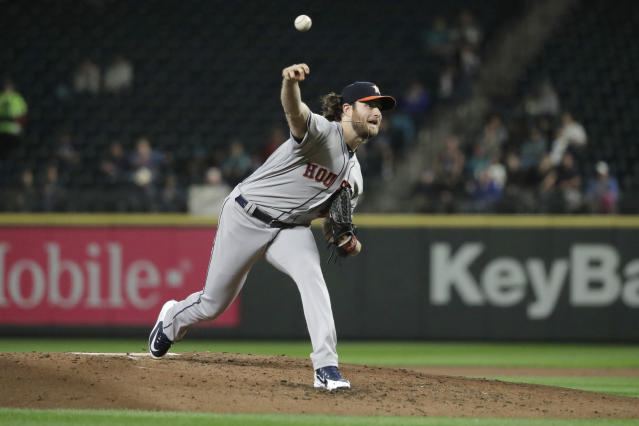 Houston Astros starting pitcher Gerrit Cole throws during the fourth inning of the team's baseball game against the Seattle Mariners, Tuesday, Sept. 24, 2019, in Seattle. (AP Photo/Ted S. Warren)
