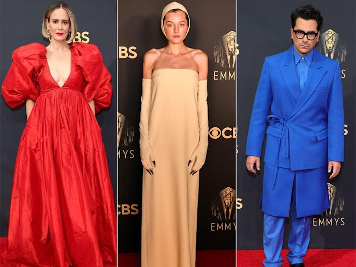 A side-by-side of Sarah Paulson, Emma Corrin, and Dan Levy on the Emmys red carpet.