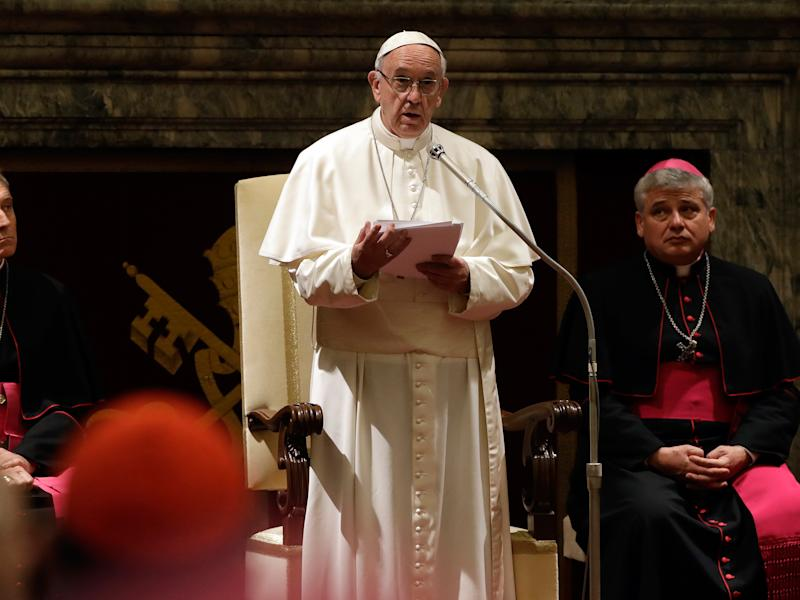 Pope Francis speaks on the occasion of his Christmas greetings to the Roman Curia in the Clementine Hall: Getty Images