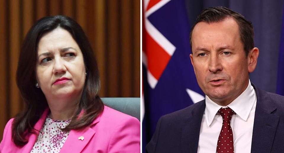 Annastacia Palaszczuk and Mark McGowan have both introduced border restrictions since the outbreak surged on Thursday. Source: Getty