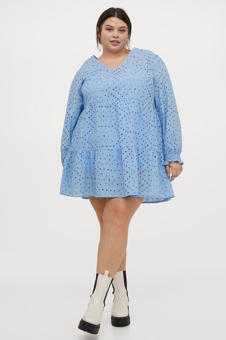 """<br><br><strong>H&M Plus</strong> Eyelet Embroidery Dress, $, available at <a href=""""https://go.skimresources.com/?id=30283X879131&url=https%3A%2F%2Fwww2.hm.com%2Fen_us%2Fproductpage.0965828001.html"""" rel=""""nofollow noopener"""" target=""""_blank"""" data-ylk=""""slk:H&M"""" class=""""link rapid-noclick-resp"""">H&M</a>"""