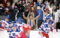 """<p>A new coach is hired to pull together the US men's hockey team in the lead up to the 1980 Winter Olympics. As he assembles a team and sets the lofty goal of defeating the heavily favored Soviet team, the athletes' struggle becomes a touchstone for Cold War politics.</p> <p><a href=""""http://www.disneyplus.com/movies/miracle/38uh6GJall9b"""" class=""""link rapid-noclick-resp"""" rel=""""nofollow noopener"""" target=""""_blank"""" data-ylk=""""slk:Watch Miracle on Disney+."""">Watch <strong>Miracle</strong> on Disney+.</a></p>"""