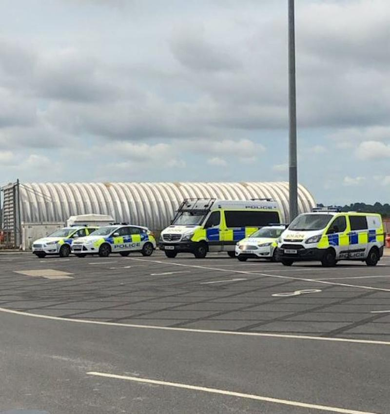 Picture taken with permission from twitter posted by @LandoNorrisClub of police outside Southampton cruise terminal. A passenger dressed as a clown sparked a mass brawl on a P&O cruise ship, according to reports.
