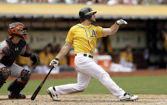 Oakland Athletics' John Jaso swings for an RBI single off Baltimore Orioles' Kevin Gausman in the fourth inning of a baseball game Sunday, July 20, 2014, in Oakland, Calif. (AP Photo/Ben Margot)