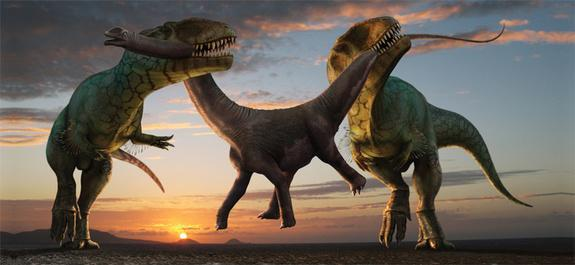Robert Nicholls captures dinosaur death in all its glory; working together, two <em>Carcharodontosaurus saharicus</em> steal away a juvenile <em>Parilatitan stromeris</em> from its family herd. Living during the Upper Cretaceous, the giant