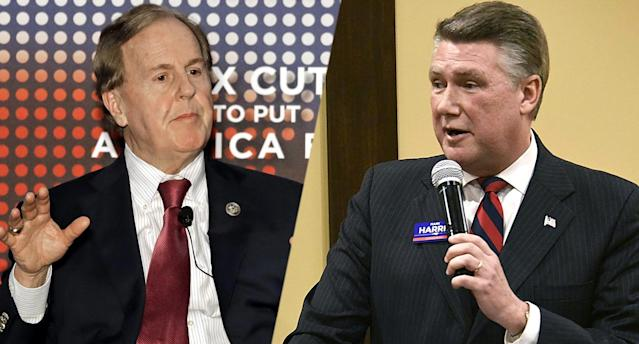 Robert Pittenger, Mark Harris. (Photos: Chuck Burton/AP, John D. Simmons /The Charlotte Observer via AP)