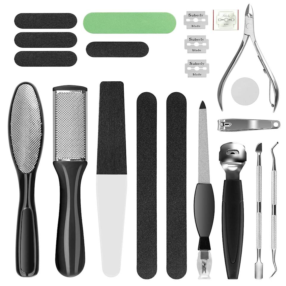 Professional Pedicure Kit, Rosmax Pedicure Set Foot Scrubber Foot Care Kit Foot File Dead Skin Callus Remover, Foot Spa Set at Home Pedicure Tools Pedicure Supplies for Cracked Skin (Black)