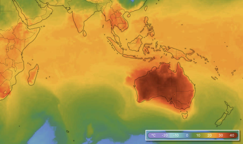Temperatures across Australia and southeast Asia predicted for 5pm on Wednesday (AEDT). Source: Windy