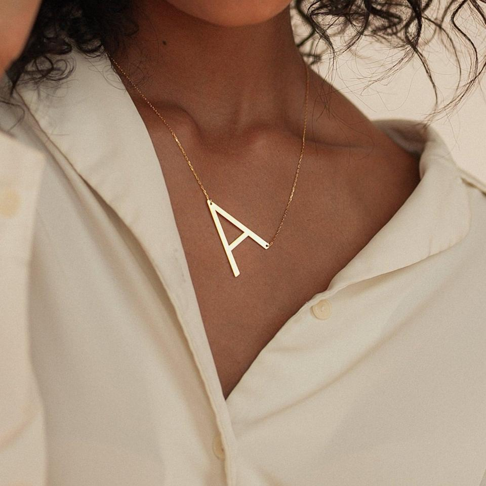 <p>How chic is this <span>Big Letter Necklace by Caitlyn Minimalist</span> ($24, originally $32)?! It's a statement-making find that will elevate your fall looks.</p>
