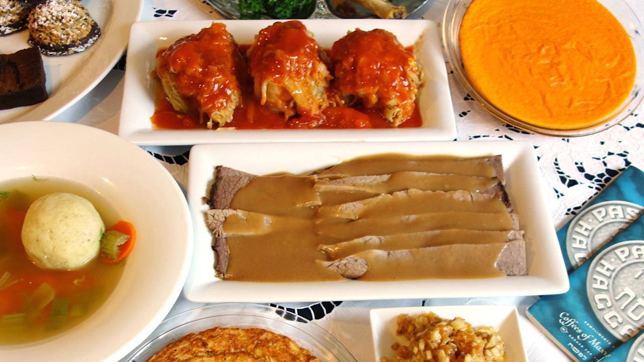 """<p>Renowned Houston deli <a rel=""""nofollow"""" href=""""https://www.foodydirect.com/restaurants/kenny-ziggy-s/dishes/kenny-ziggy-s-passover-dinner-for-five"""">Kenny & Ziggy</a>'s is offering a complete Passover dinner for five people. Choose between <a rel=""""nofollow"""" href=""""http://www.foodandwine.com/slideshows/brisket-recipes"""">brisket</a> and stuffed <a rel=""""nofollow"""" href=""""http://www.foodandwine.com/slideshows/cabbage-recipes"""">cabbages</a> or go for both. Plus, you'll get matzoh ball soup, gefilte fish, potato kugel, <i>tzimmis</i>, <i>charoset</i>, horseradish, macaroons and brownies.</p>"""