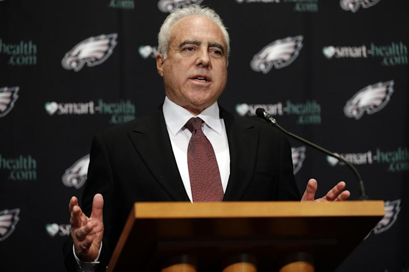 """Philadelphia Eagles owner Jeffrey Lurie speaks to members of the media during a news conference at the team's NFL football training facility, Monday, Dec. 31, 2012, in Philadelphia. Andy Reid's worst coaching season with the Eagles ended Monday after 14 years when he was fired by Lurie, who said it was time """"to move in a new direction."""" (AP Photo/Matt Rourke)"""