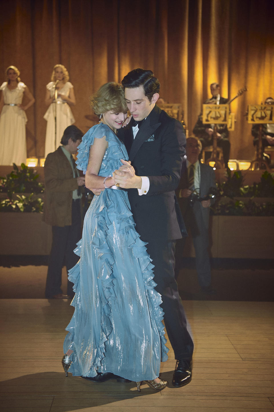 In a scene from The crown season four Princess Diana (Emma Corrin) and Prince Charles (Josh O'Connor) dance on their 1983 Australian tour