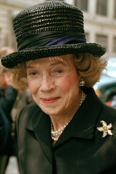 FILE - In this May 1, 1997 file photo, Brooke Astor attends a function in New York. The immaculately dressed grande dame of New York City - philanthropist, taste-setter and host extraordinaire - died in 2007 at the age of 105. Sotheby's New York will conduct a two-day auction on Sept. 24-25, 2012 of some 900 personal items from Astor's Park Avenue duplex and her stone manor in Westchester. (AP Photo/Serge J.F. Levy, File)