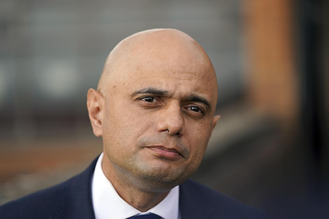 Health Secretary Sajid Javid during a visit to the Bournemouth Vaccination Centre, in Bournemouth, Dorset. Picture date: Wednesday August 4, 2021.