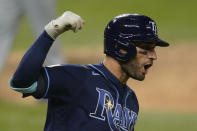 Tampa Bay Rays' Kevin Kiermaier celebrates a home run against the Los Angeles Dodgers during the seventh inning in Game 4 of the baseball World Series Saturday, Oct. 24, 2020, in Arlington, Texas. (AP Photo/Eric Gay)