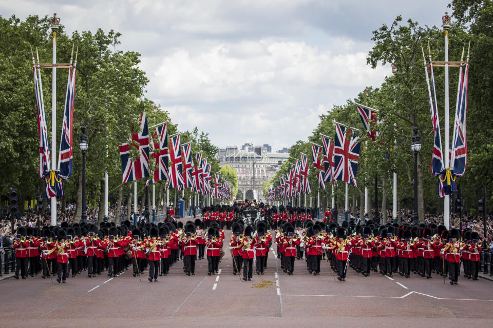 LONDON, ENGLAND - MAY 25: Soldiers and Musicians rehearse at the Major General's Review on May 25, 2019 in London, England.  The Major General's Review is the first of two rehearsals ahead of Trooping The Colour which will take place on Saturday June 08, 2019. (Photo by Tristan Fewings/Getty Images)