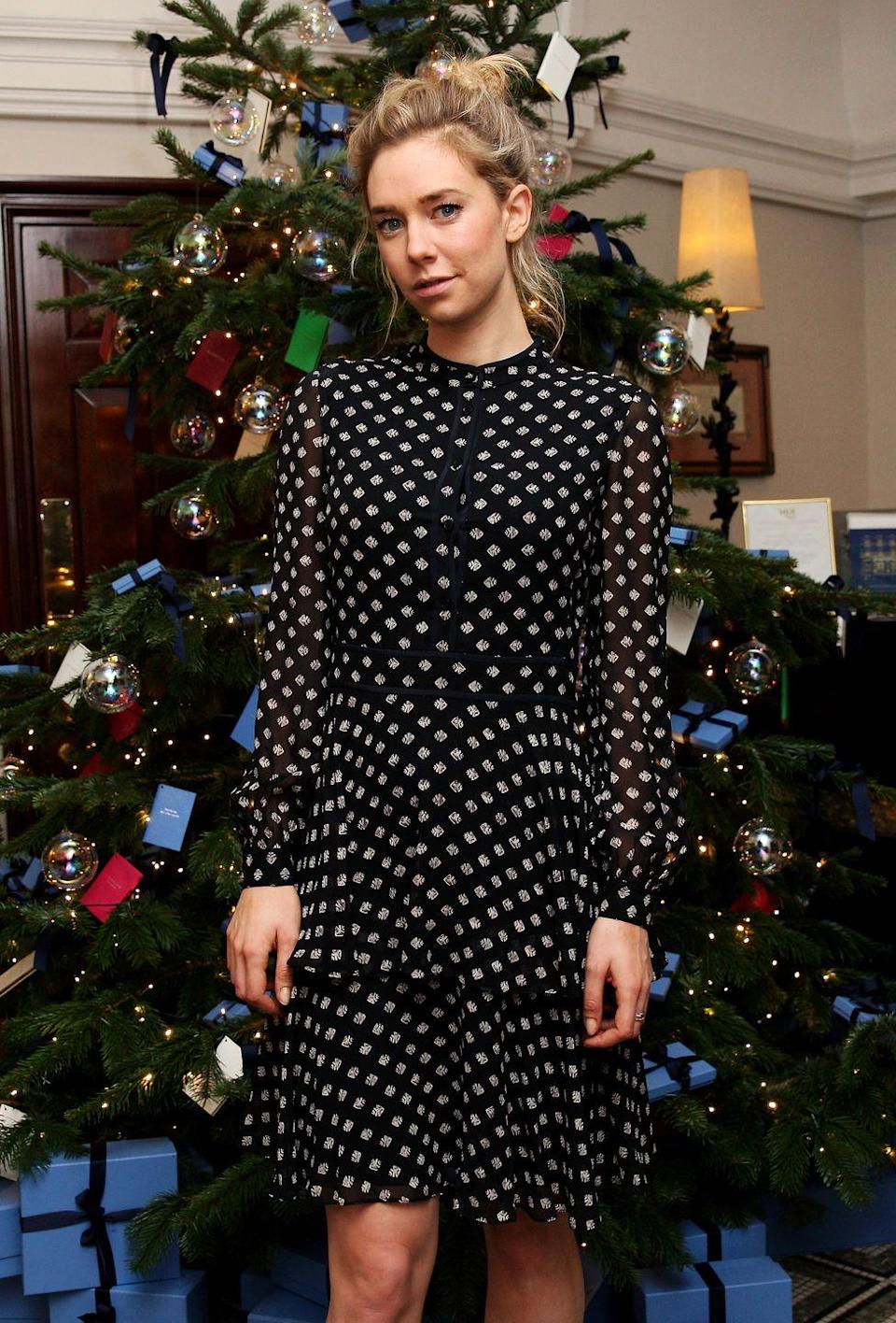 <p>Wearing a classic polka dot dress to the Smythson x Brown's Hotel festive launch party.</p>