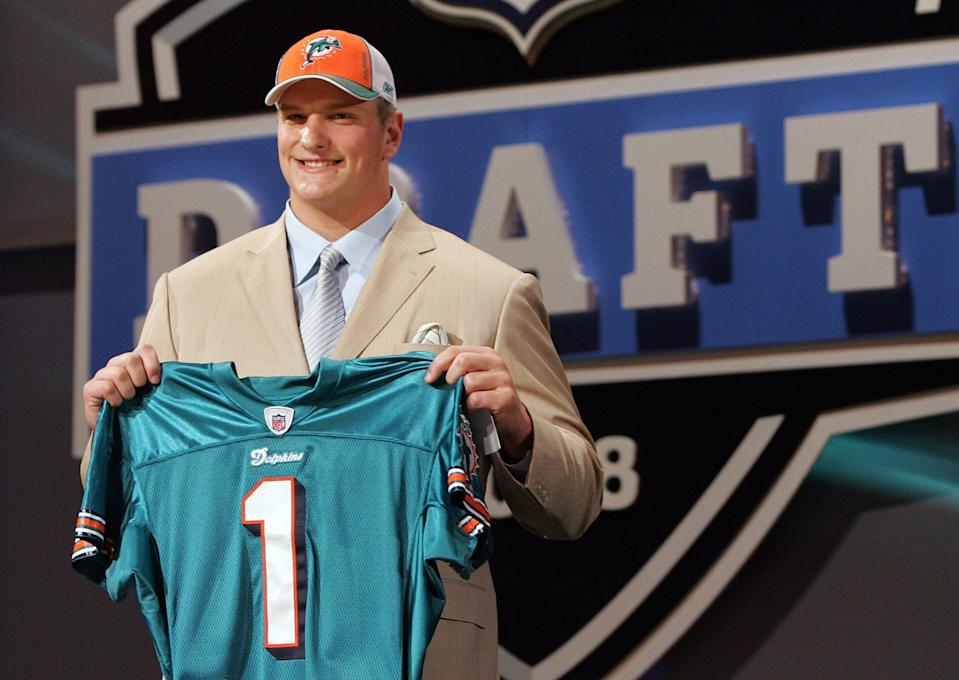 Jake Long poses for a photo after being taken as the first overall draft pick by the Miami Dolphins during the 2008 NFL Draft.