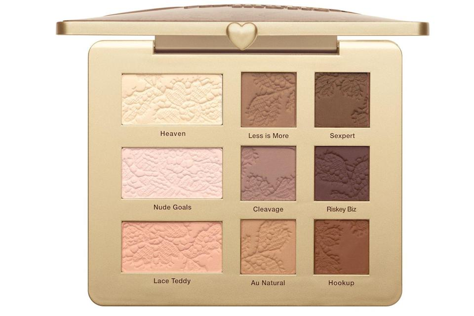 """<p>Yes we love shimmer, but matte eyes are having a moment right now and this palette has captured it. With a perfect range of light bases, rich transitions and bold shades for adding depth, this palette has everything you need to carve out the perfect eye look. </p><p><a href=""""https://www.cultbeauty.co.uk/too-faced-natural-matte-eye-shadow-collection.html"""" rel=""""nofollow noopener"""" target=""""_blank"""" data-ylk=""""slk:buy now"""" class=""""link rapid-noclick-resp"""">buy now</a><br></p>"""
