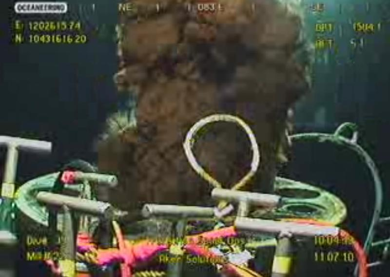 Video image of leaking oil from BP's ruptured well in the Gulf of Mexico
