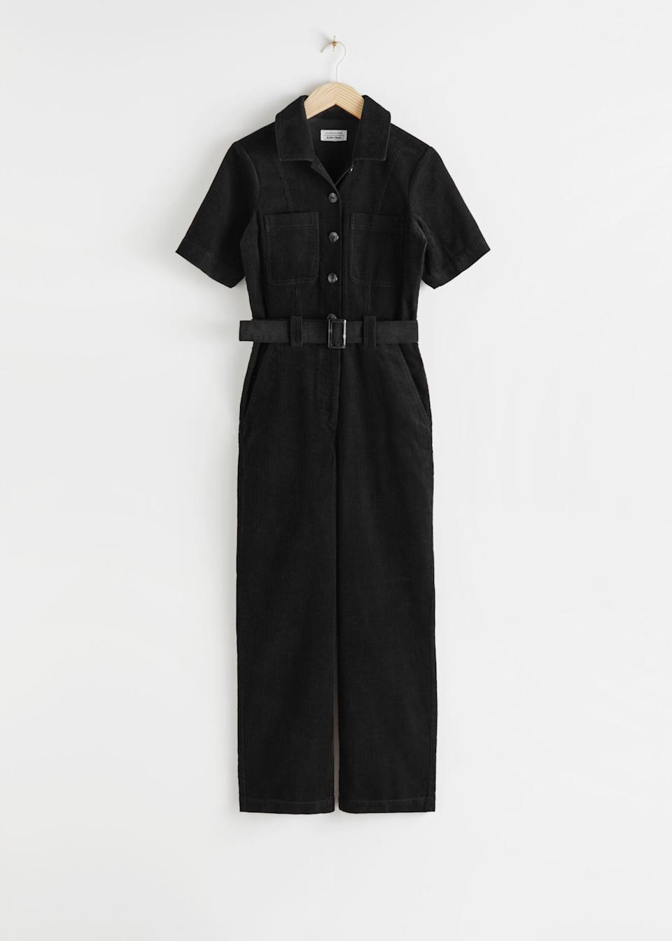 "<br><br><strong>& Other Stories</strong> Corduroy Buckle Belt Jumpsuit, $, available at <a href=""https://go.skimresources.com/?id=30283X879131&url=https%3A%2F%2Fwww.stories.com%2Fen_usd%2Fclothing%2Fjumpsuits-playsuits%2Fproduct.corduroy-buckle-belt-jumpsuit-black.0816014001.html"" rel=""nofollow noopener"" target=""_blank"" data-ylk=""slk:& Other Stories"" class=""link rapid-noclick-resp"">& Other Stories</a>"